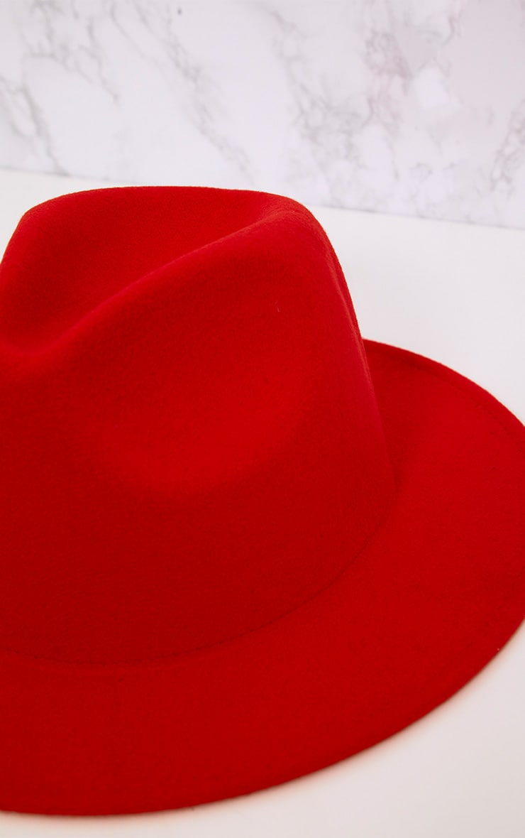 Tomato Red Felt Fedora Hat 5