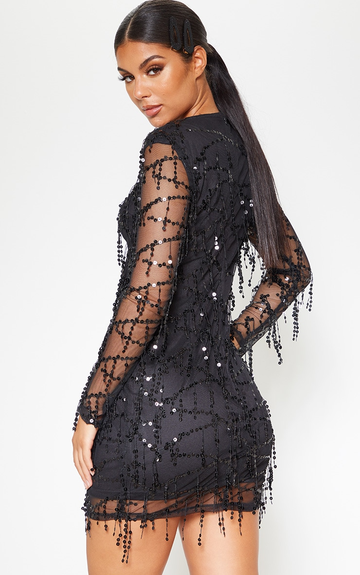 Black Sequin Detail Long Sleeve Mini Dress 2