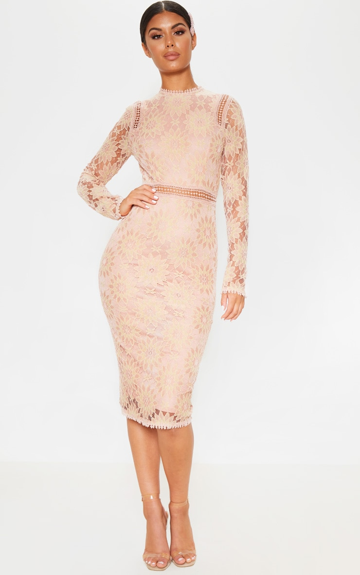 Dusty Pink Long Sleeve Lace Bodycon Dress 1