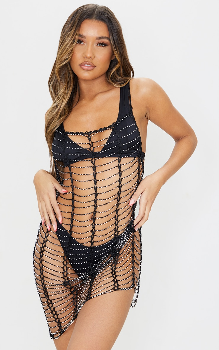 Black Crochet Beaded Dress 5