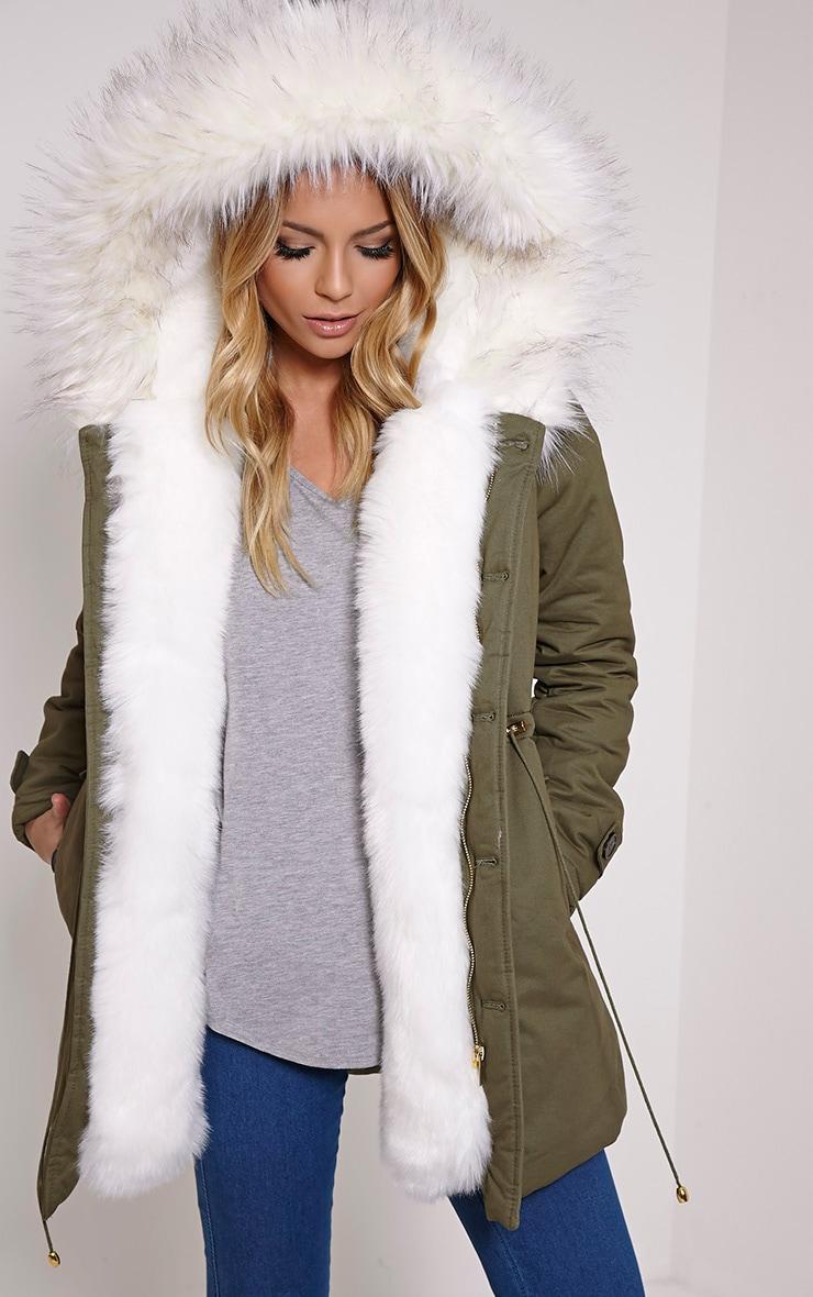 Jen Cream Faux Fur Lined Premium Parka Coat 1