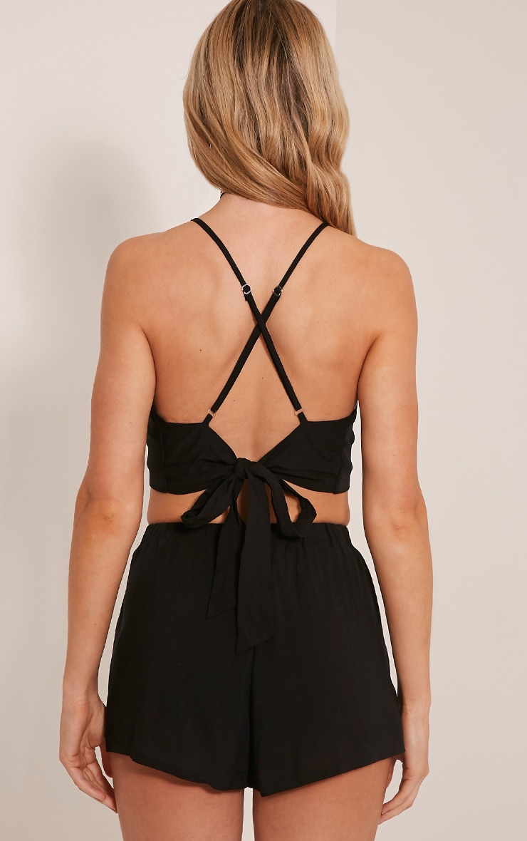 Sade Black Tie Back Crop Top 2