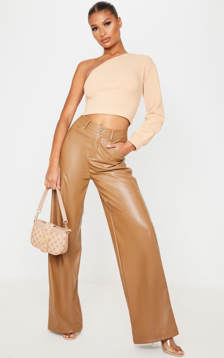 Sand Jumbo Rib One Shoulder Crop Top 4