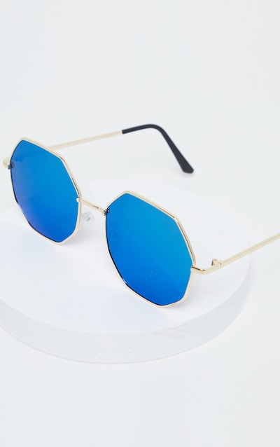 Green And Blue Octagon Oversized Sunglasses