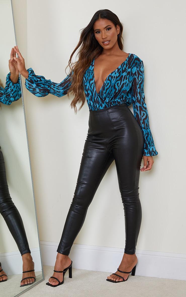 Blue Leopard Print Chiffon Puff Ball Cuff Plunge Bodysuit 3