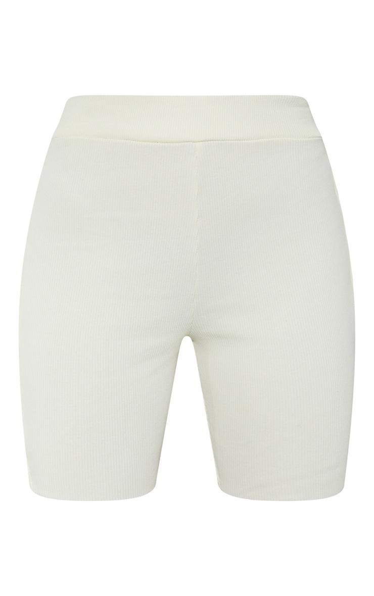 Cream Heavy Rib Bike Shorts 6