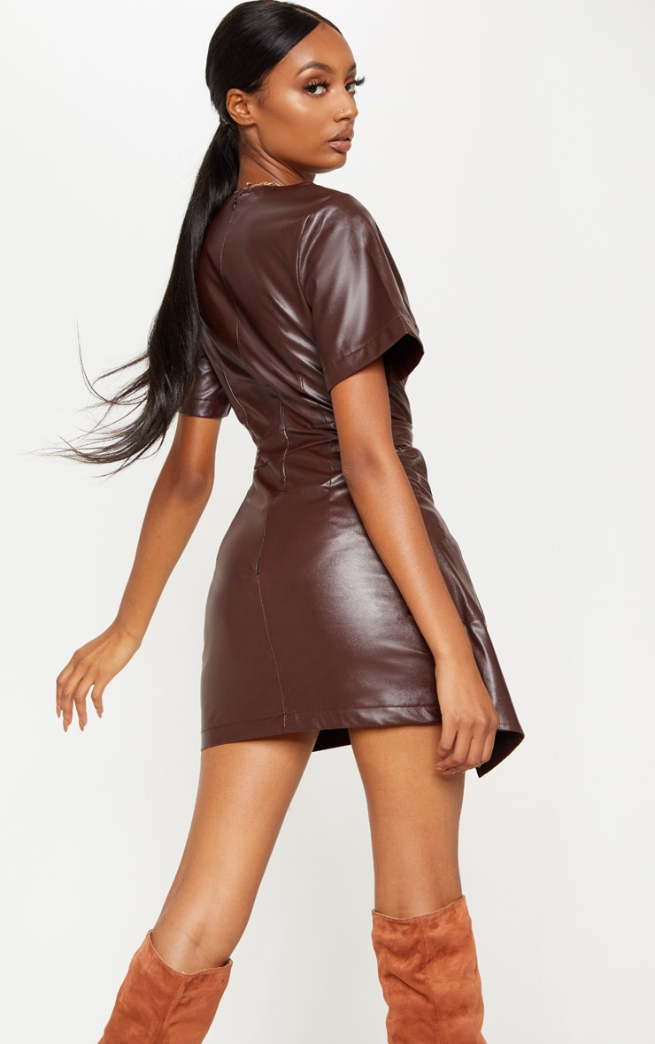 Chocolate Brown PU Wrap Bodycon Dress 2