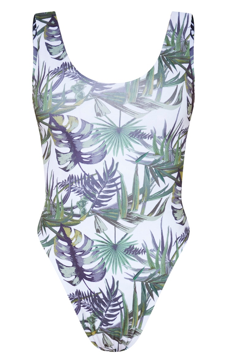 Tall White Tropical Knot Back Swimsuit 1