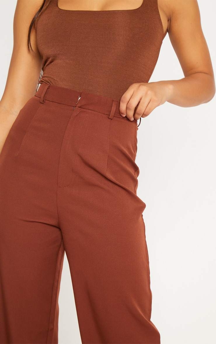 Tall Chocolate Brown High Waist Wide Leg Trousers 4