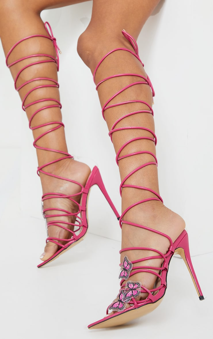 Pink Pu Butterfly Detail Lace Up Point Toe High Heels 1