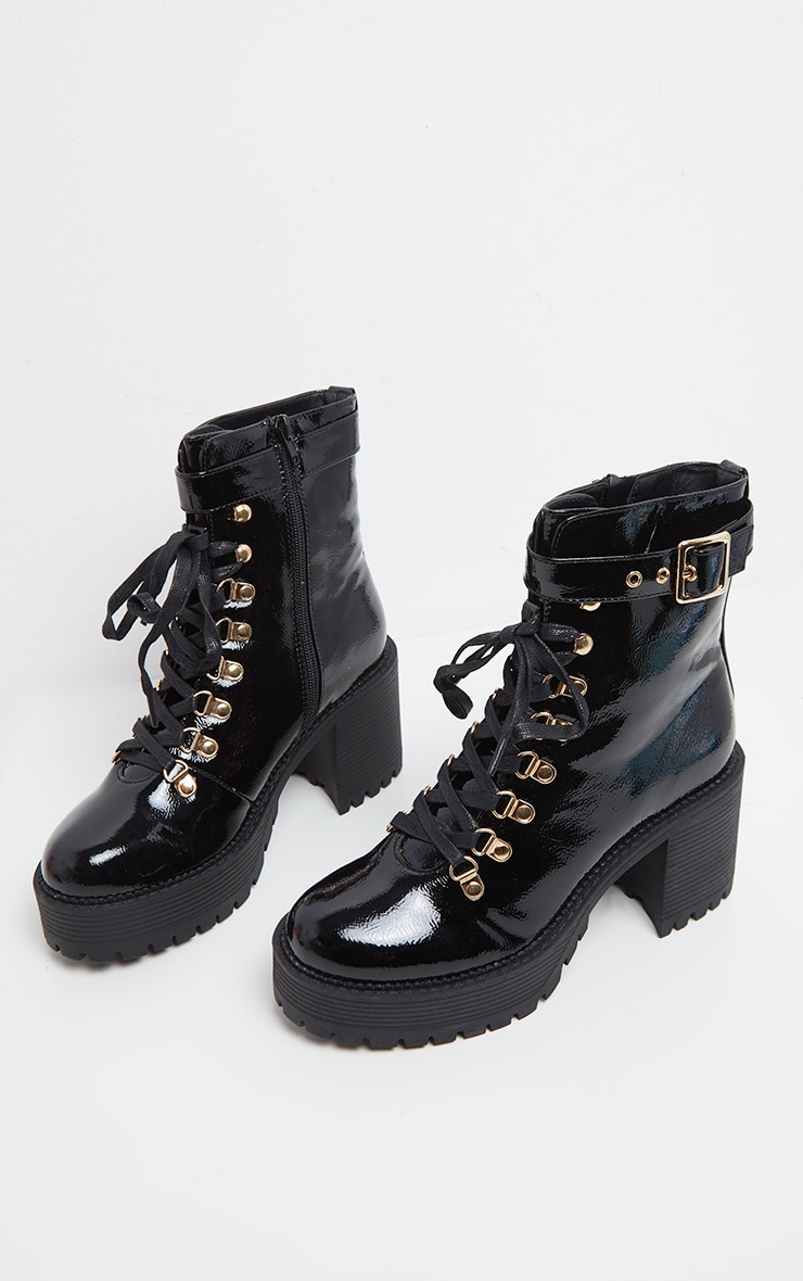 Black Ankle Buckle Cleated Sole Boot 3