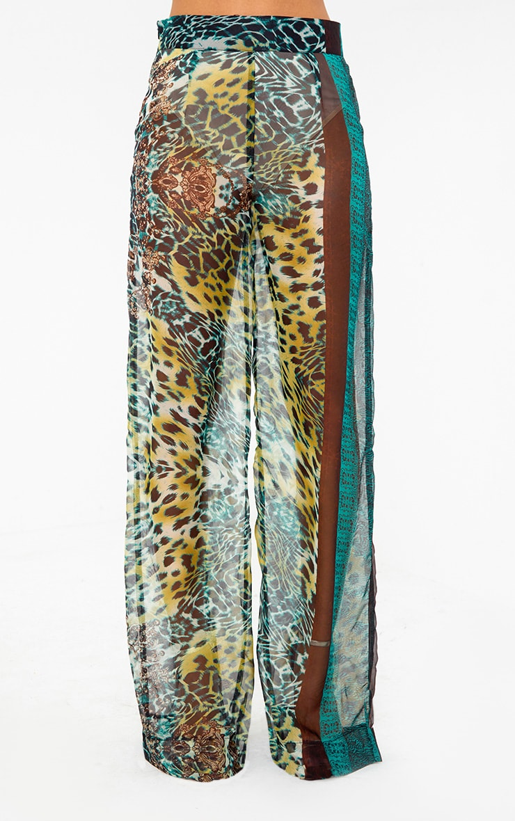 Green Sheer Scarf Print Wide Leg Trousers 2