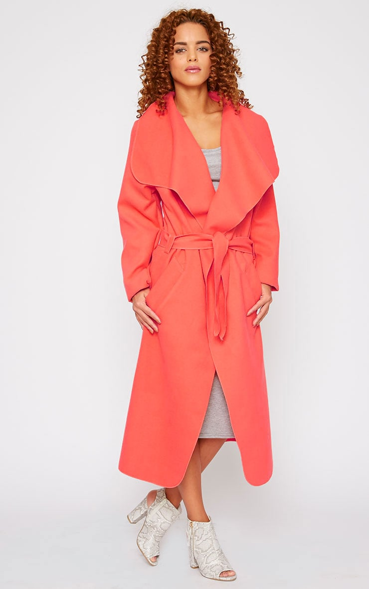 Veronica Coral Oversized Waterfall Belt Coat 4