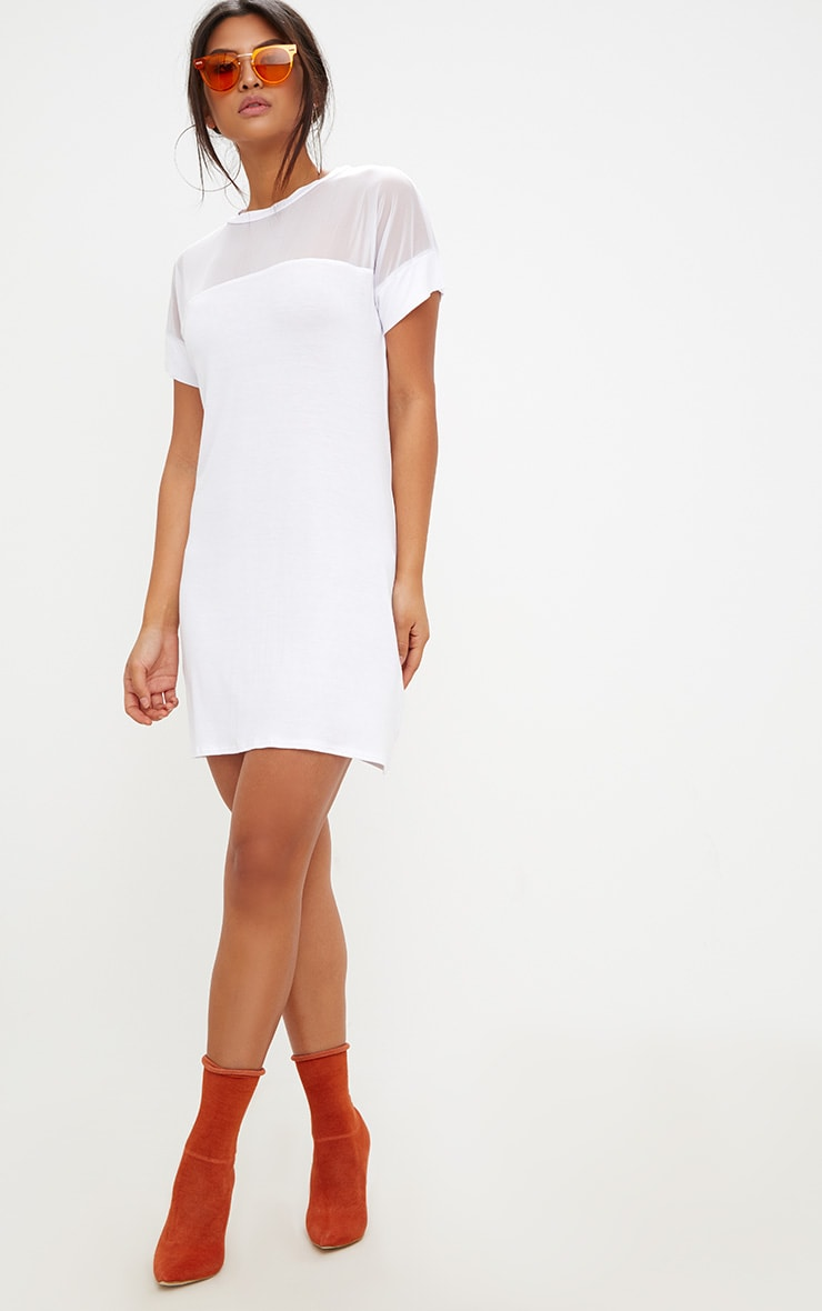 White Jersey & Mesh T Shirt Dress 1