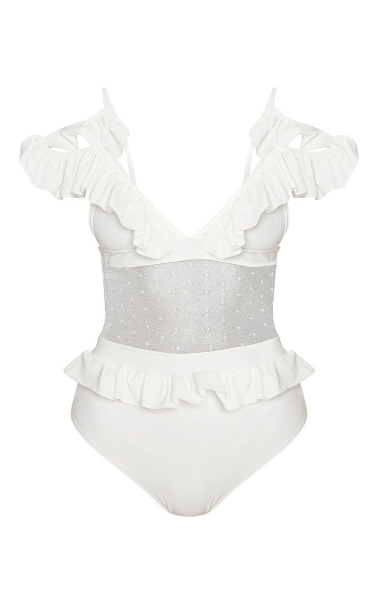 White Polka Dot Middle Frill Swimsuit 3