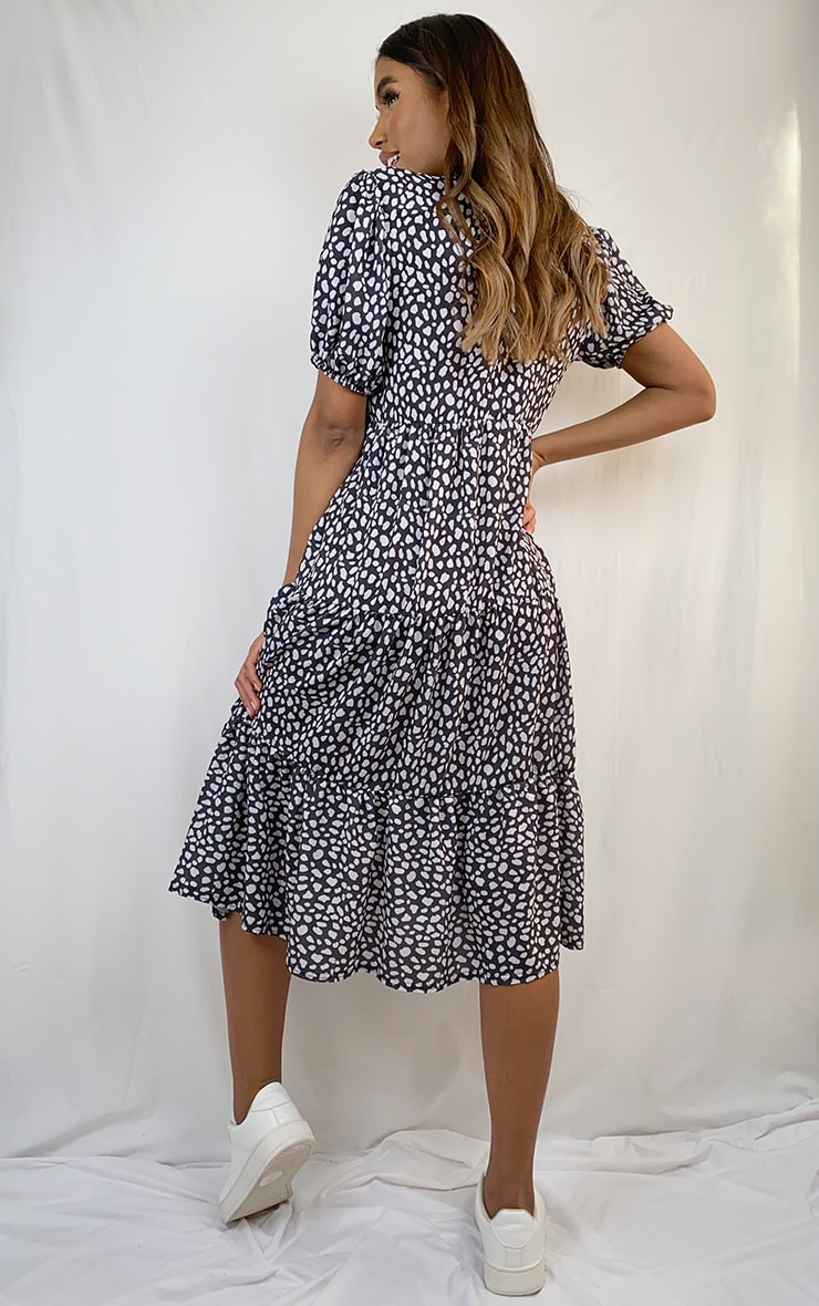 Black Dalmatian Print Puff Sleeve Tiered Hem Midi Smock Dress 2