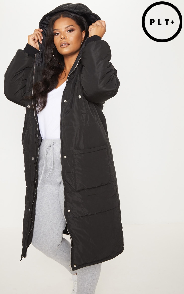 Plus Black Longline Puffer Coat 1