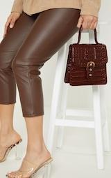 Mini-sac marron chocolat imitation croco à fermeture en métal 1