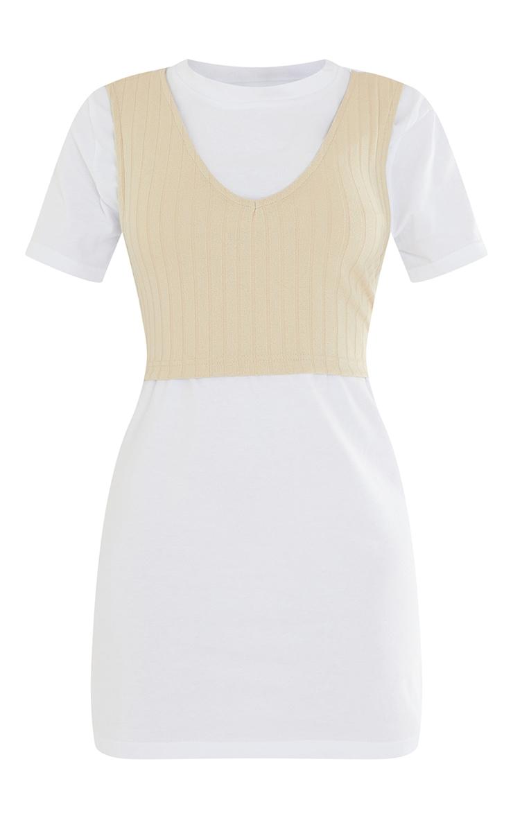 White Rib Vest Wrap Detail T Shirt Dress 5
