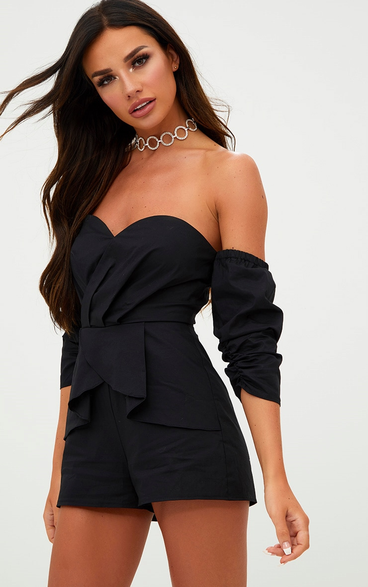 Black Bandeau Cross Front Skirt Playsuit 1