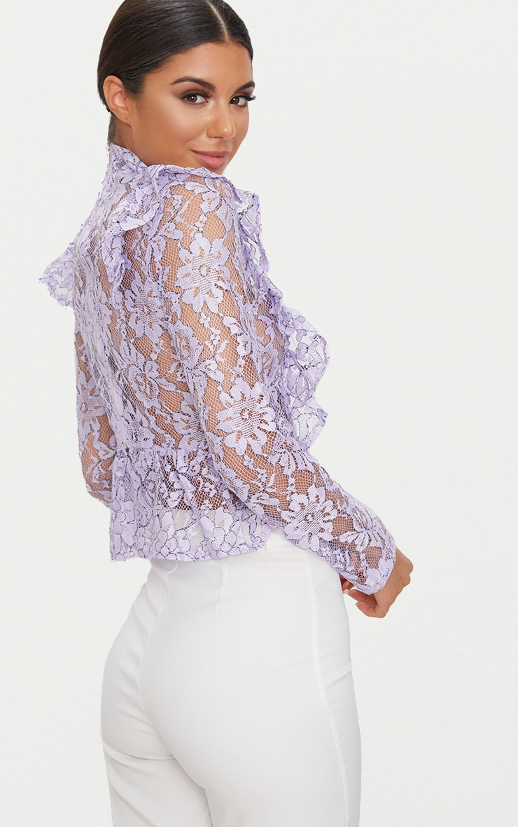 Lilac Frill Front Lace Blouse  2