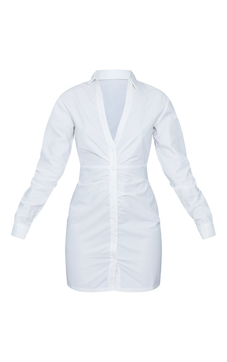White Ruched Waist Detail Plunge Shirt Dress 5