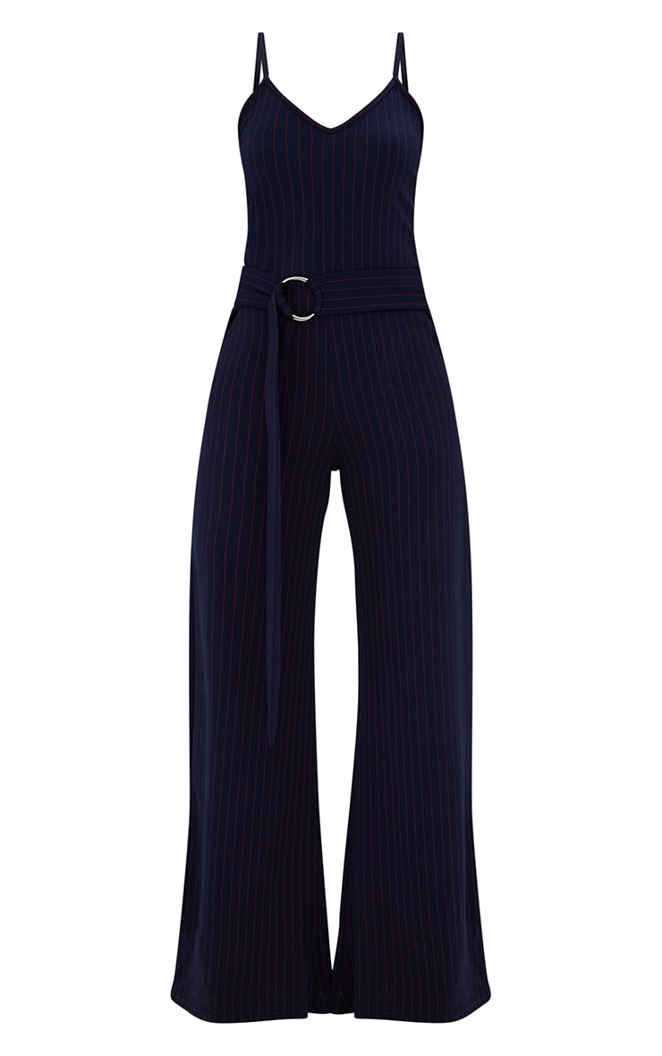 Petite Navy Blue Pinstripe O-Ring Belt Jumpsuit 3