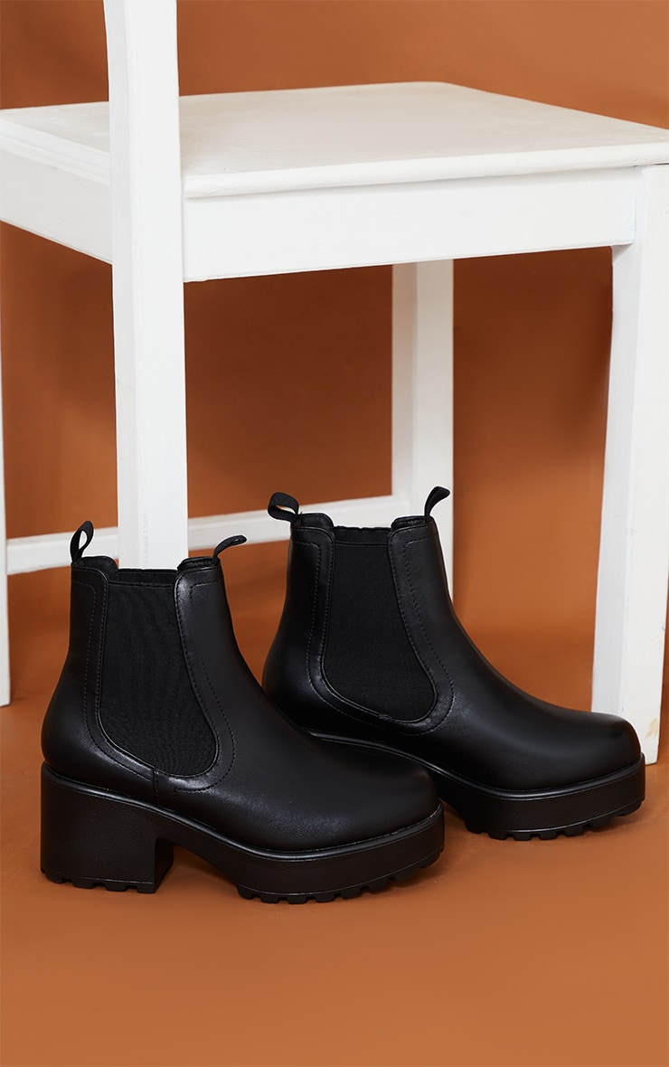Black Matte Chunky Sole Chelsea Ankle Boot 3