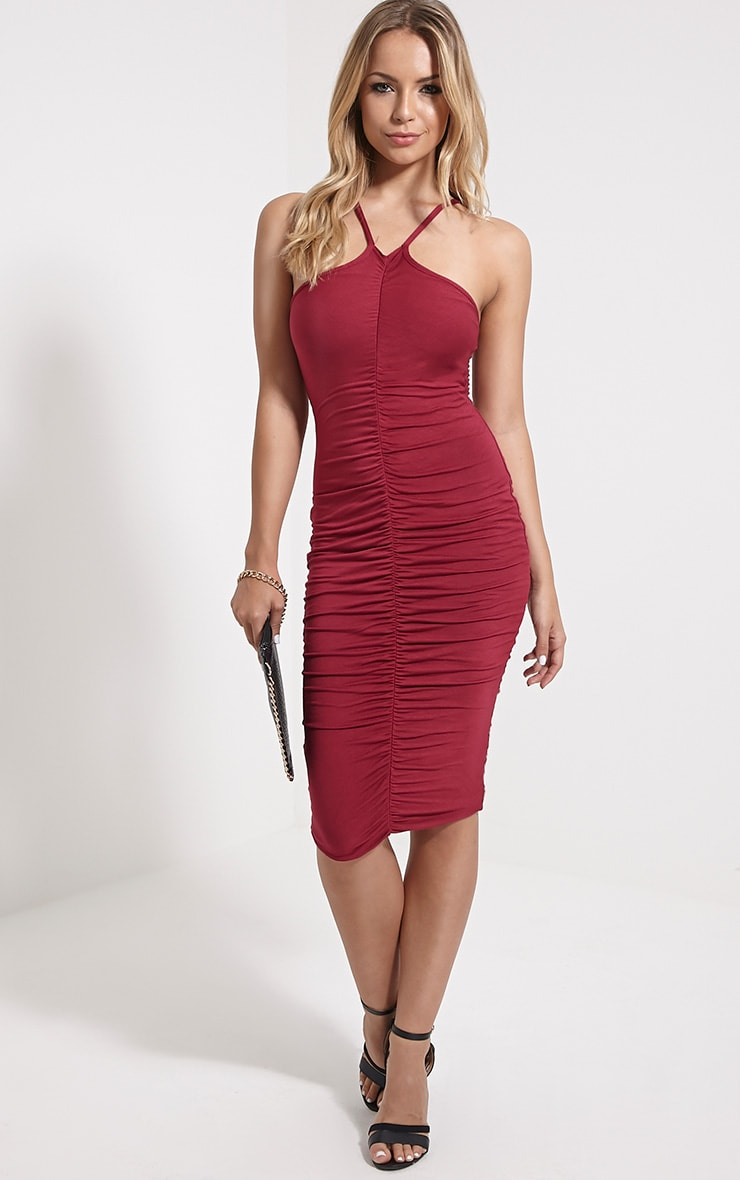 Tarina Oxblood Ruched Front Midi Dress 1