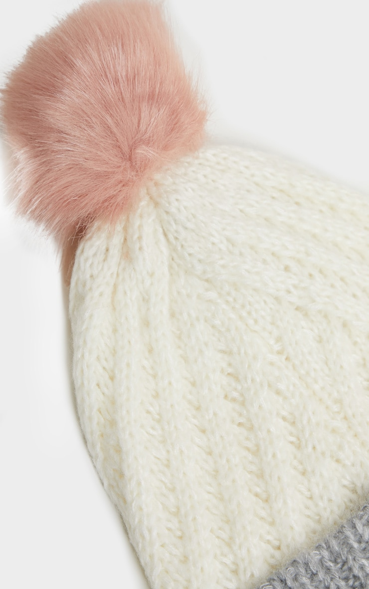 White Ribbed Knit Beanie Hat with Fur Pom 3