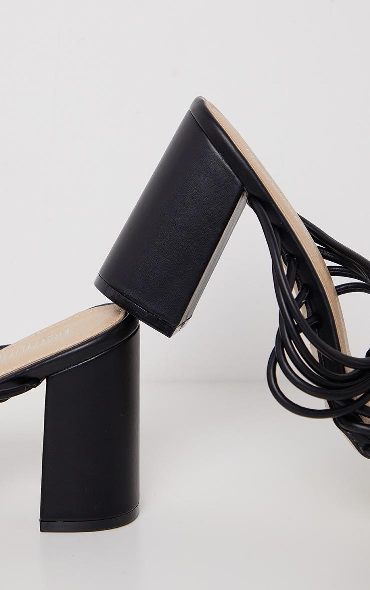 Sandales noires à gros talon & brides montantes 4