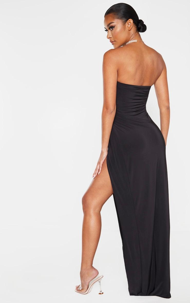 Black Bandeau High Slit Maxi Dress  2