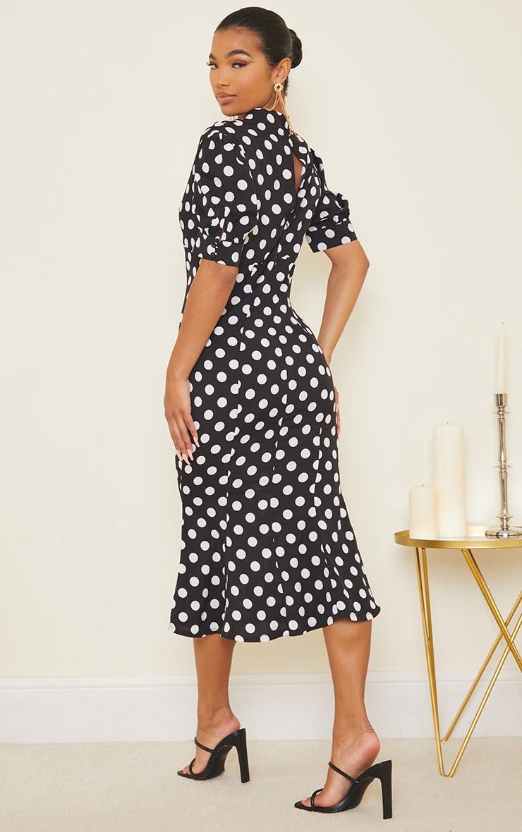 Black Polka Dot Puff Sleeve Draped Neck Midi Dress 2