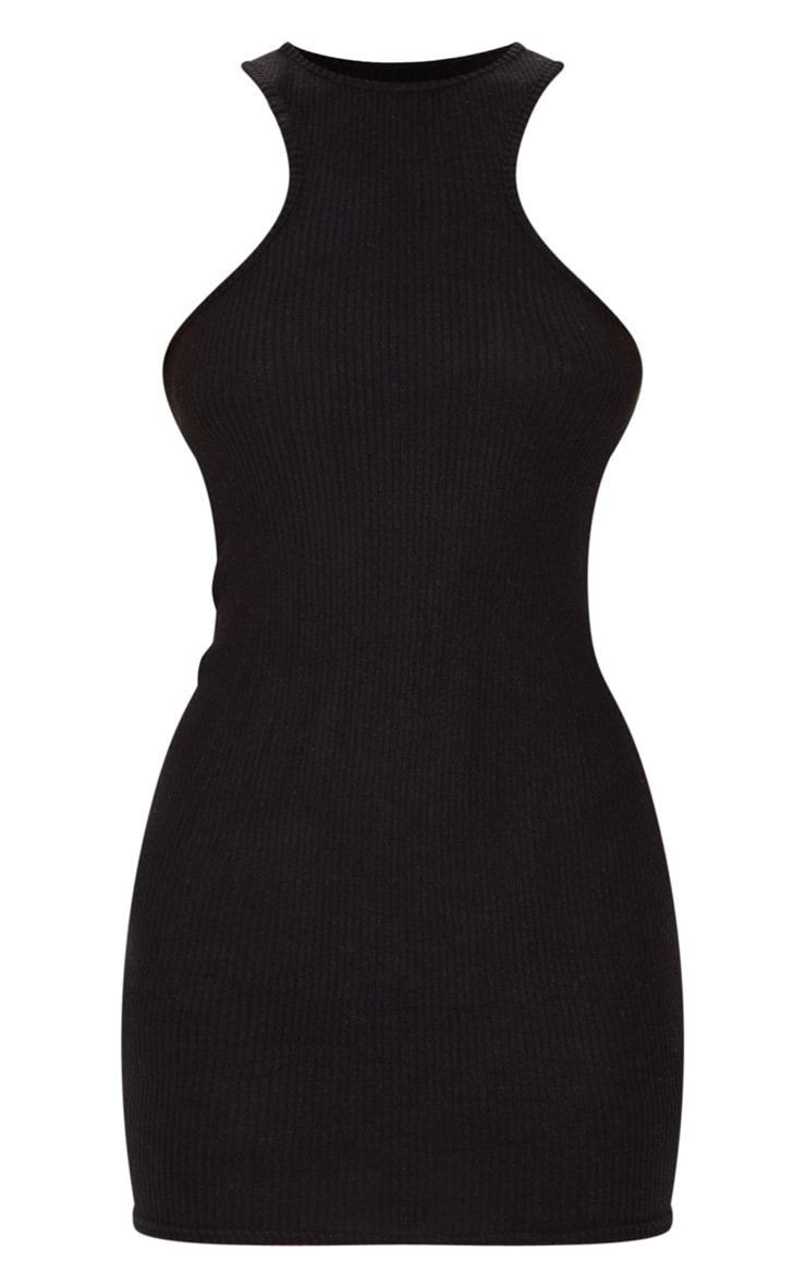 Black Brushed Rib Racer Neck Bodycon Dress 5