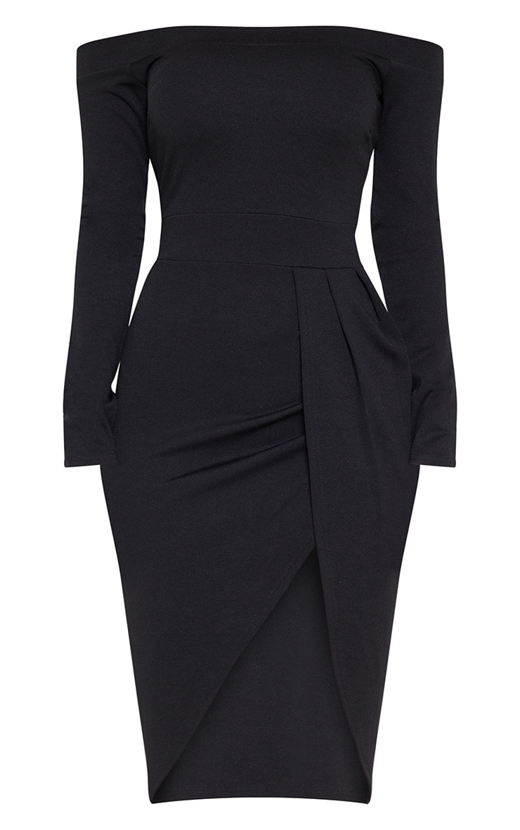 Black Long Sleeve Bardot Wrap Midi Dress 3