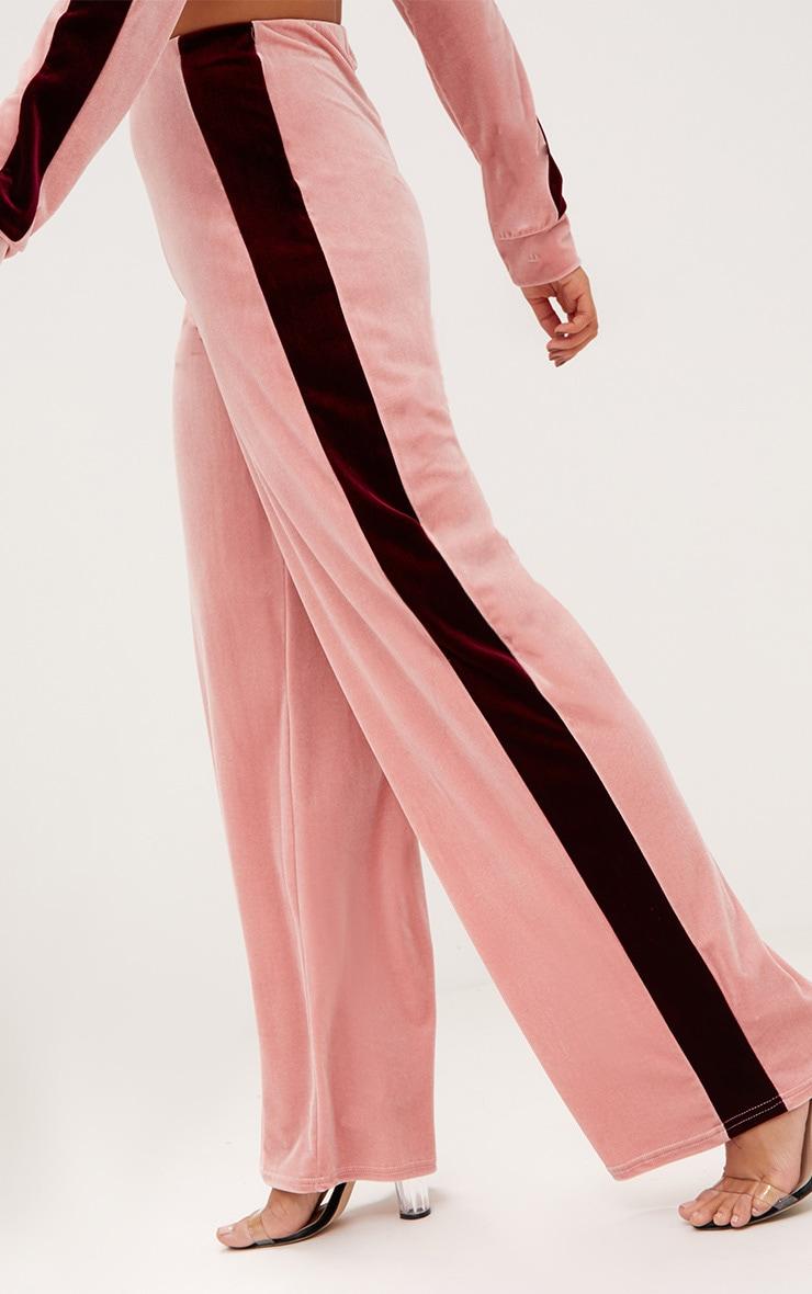 Pink Velvet Contrast Stripe Wide Leg Trousers 5