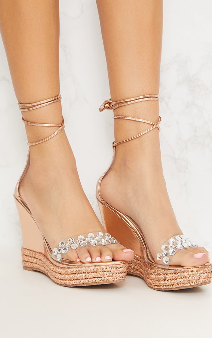 Rose Gold Jewelled High Wedge  5