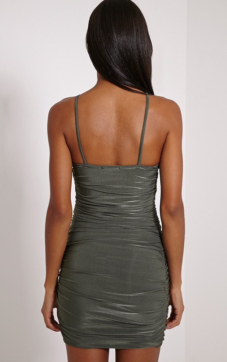 Palia Khaki Slinky Tie Neck Mini Dress 2