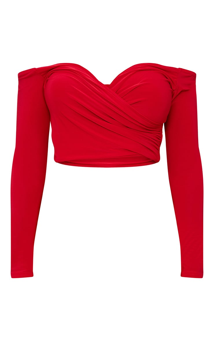 Shape Red Slinky Bardot Crop Top 3
