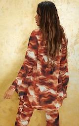 Brown Abstract Wave Print Beach Shirt 2