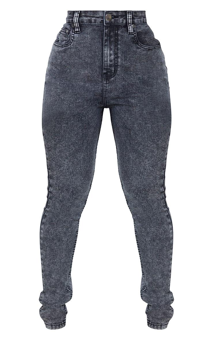 Shape Black Acid Wash High Waist Super Stretch Skinny Jeans 5