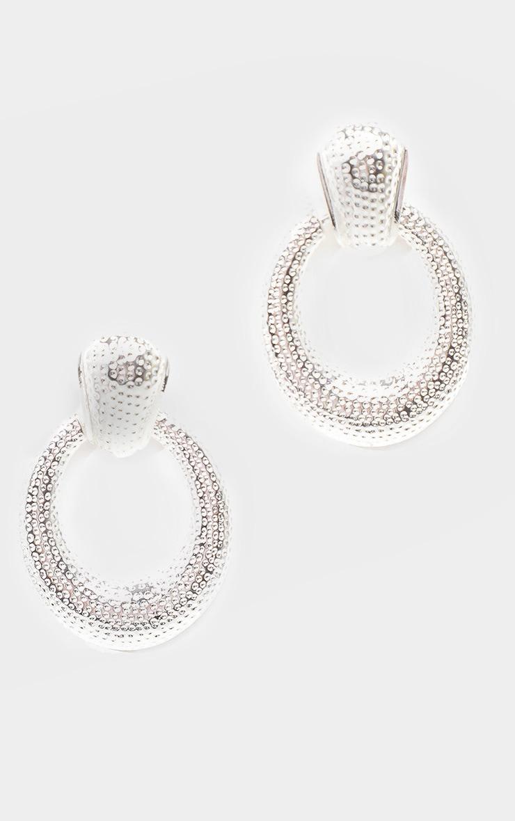 Silver Textured Door Knocker Oval Drop Earrings 2