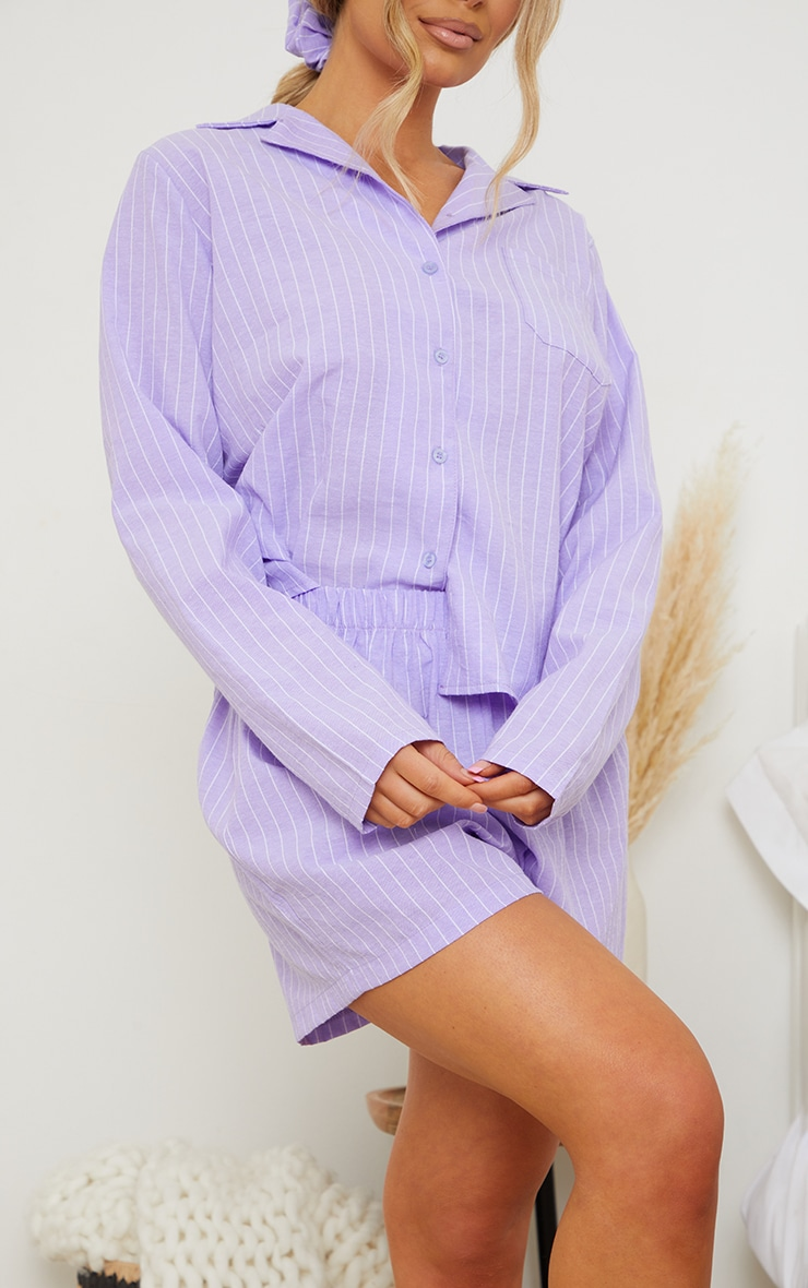 Lilac Striped Long Sleeve Shirt And Shorts Pj Set With Scrunchie 4