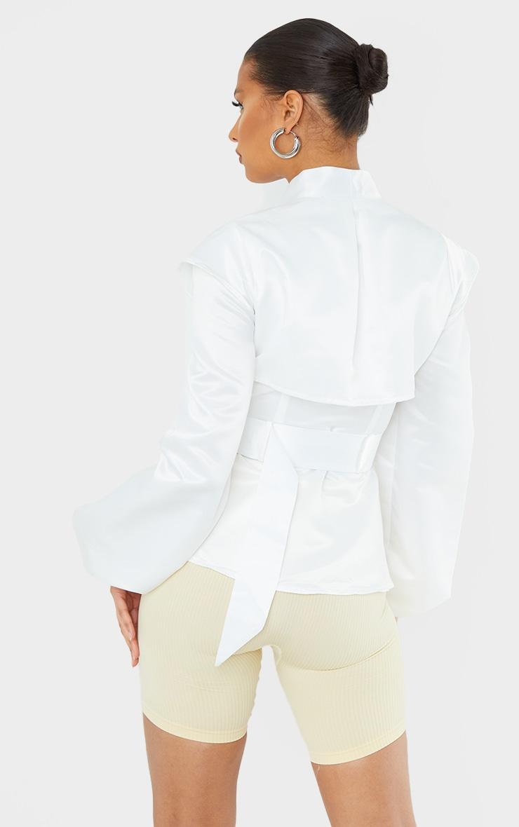 White Satin Pocket Shoulder Detail Blazer 2
