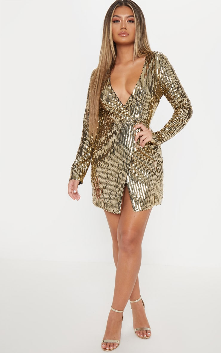 Gold Sequin Plunge Wrap Bodycon Dress 1