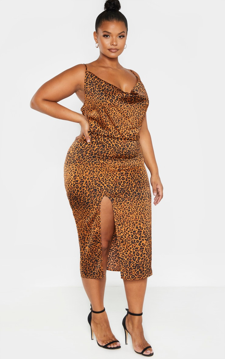 Plus Leopard Print Strappy Satin Cowl Midi Dress 4
