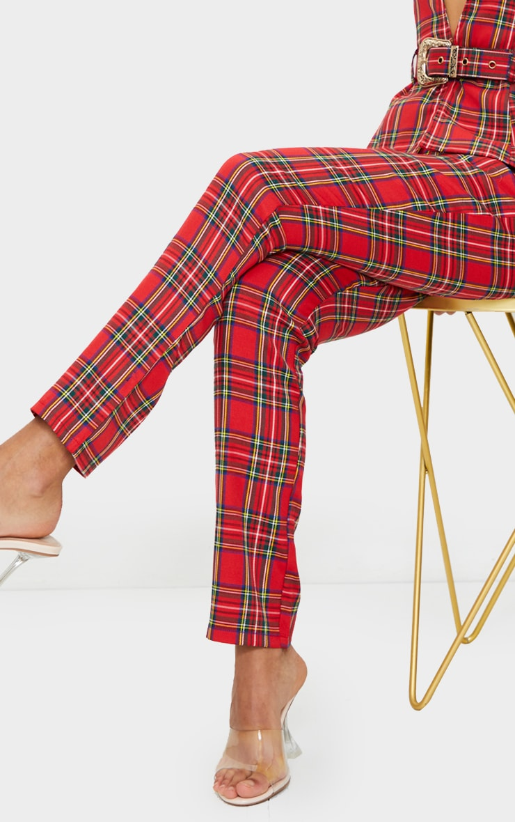 Red Tartan Printed Buckle Belted High Waisted Cigarette Pants 4