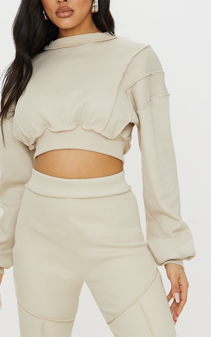 Sand Heavy Ribbed Overlock Detail Cropped Sweater 4
