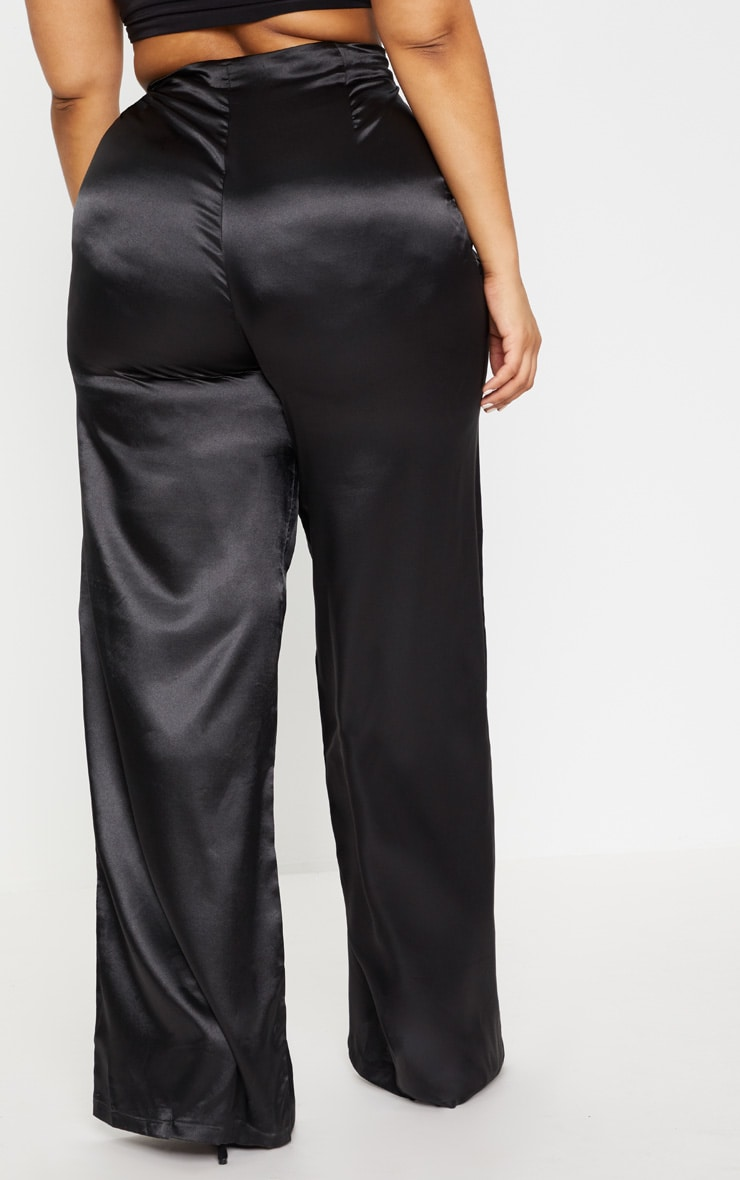 Plus Black Satin Wide Leg Trousers 4