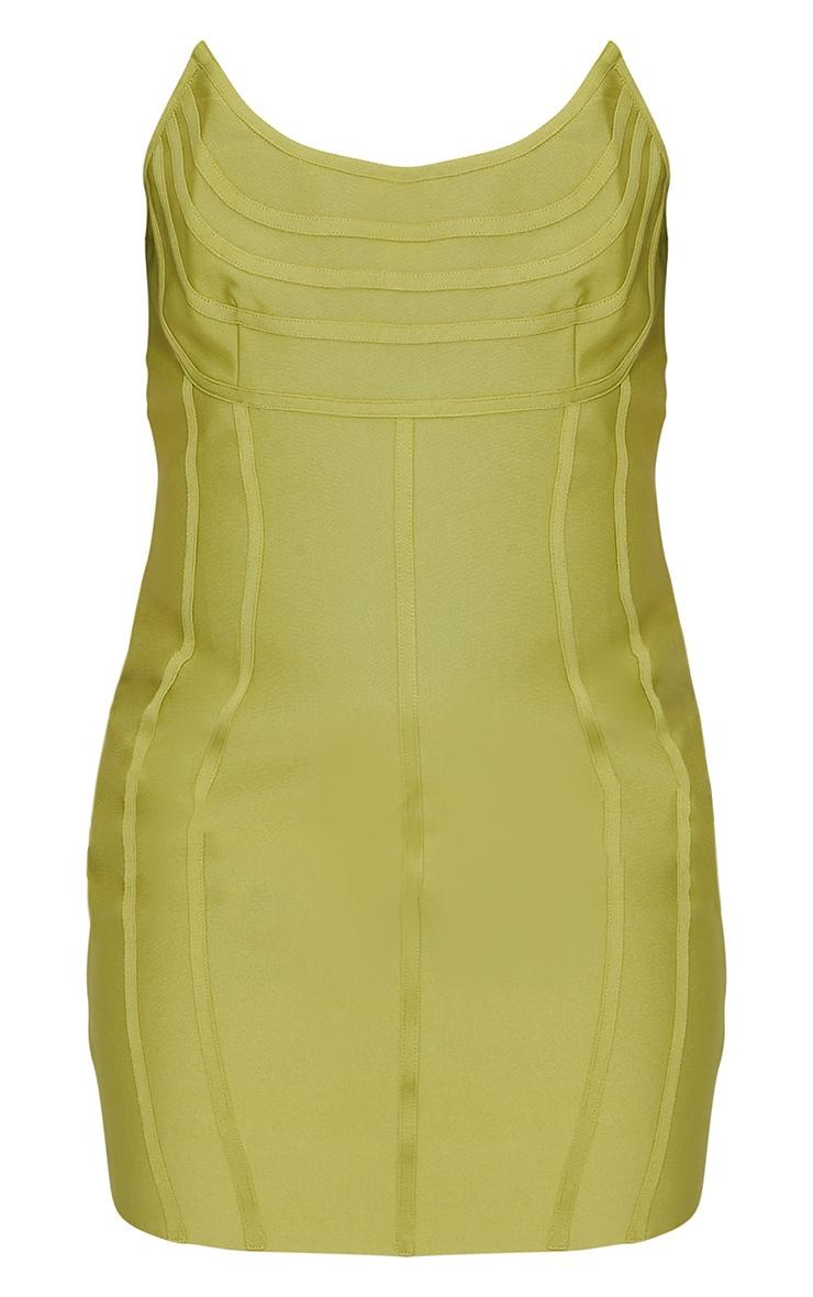 PLT Plus - Robe moulante bandeau pointue à parties contrastantes vert olive 4